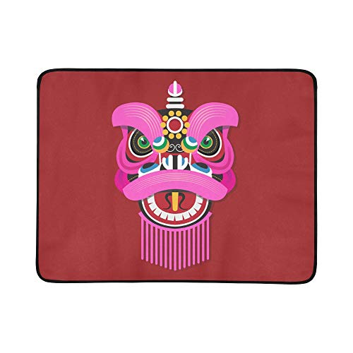 Dance Kostüm Lion - WYYWCY Chinesisches Neujahr Löwentanzkopf Muster Tragbare Und Faltbare Deckenmatte 60x78 Zoll Handliche Matte Für Camping Picknick Strand Indoor Outdoor Reise