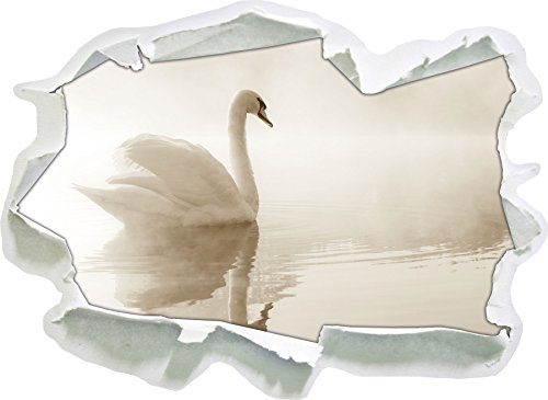 weisser-schwan-dans-la-brume-du-matin-le-papier-3d-sticker-mural-taille-92x67-cm-decoration-murale-3