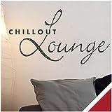 Exklusivpro Wandtattoo Spruch Wand-Worte Chillout Lounge inkl. SWAROVSKI-Strass (wrt07 dunkelrot) 80 x 44 cm mit Farb- u. Größenauswahl