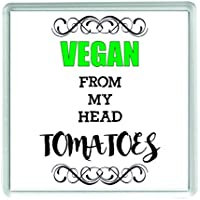 Ecool Vegan de mi Cabeza Tomates Divertido acrílico Posavasos