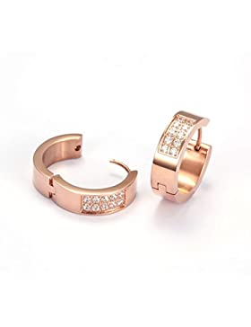 Wistic Jewelry Damen Creolen Edelstahl Vergoldet mit Kristall