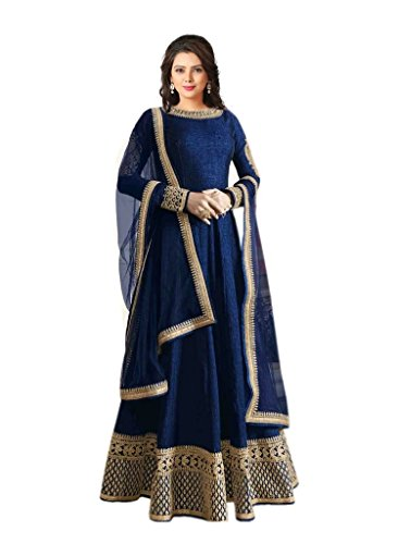 Jay Varudi Creation Women\'s Benglory Silk Dress Material Salwar Suit Set (3723380031_Blue_Free Size)
