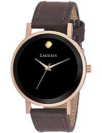 Laurels Black Color Analog Men's Watch With Strap: LWM-MOON-020905