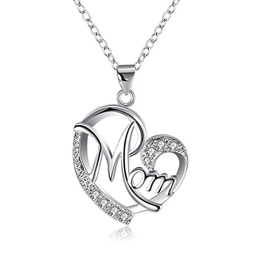 """Collana con ciondolo, in argento, per donne, catenina da 45,7cm, ciondolo a forma di cuore con scritta """"mom"""" [in lingua inglese], gioiello alla moda, ideale per la festa della mamma"""