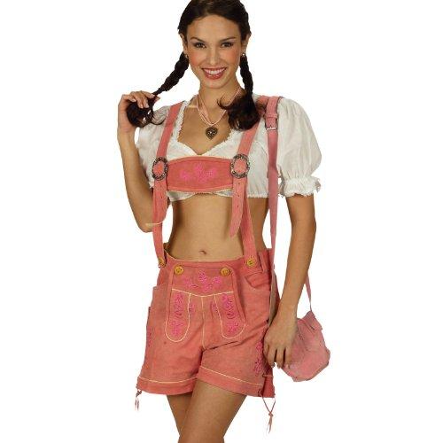 Preisvergleich Produktbild kurze Damen Trachtenlederhose rosa mit Hosenträger Hot Pant Gr. 34-42 - 40