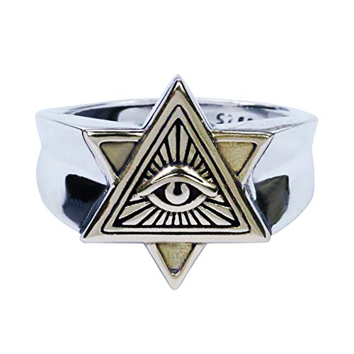Schmuck Retro Herren-Ring 925er Sterling Silber Illuminati Auge der Vorsehung All-Seeing Eye The Eye of Providence Pyramide Ring Siegelring Band Bandring mit Gravur