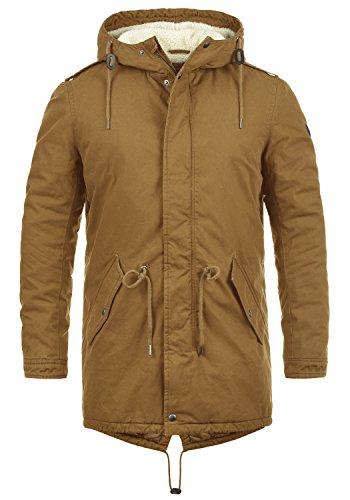 SOLID Darnell Herren Parka lange Winterjacke Mantel mit Teddy-Fell und Kapuze aus 100% Baumwolle , Größe:L, Farbe:Cinnamon (5056)