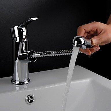 hzzymj-centerset Traditionelle pull-and-ceramic Ventil Spray Griff Single Loch chrom Waschbecken Wasserhahn -
