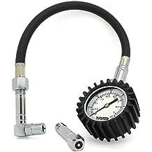 TireTek Flexi-Pro Medidor de presión de neumáticos, Heavy Duty coche y moto con Straight & ángulo derecho mandriles–60PSI
