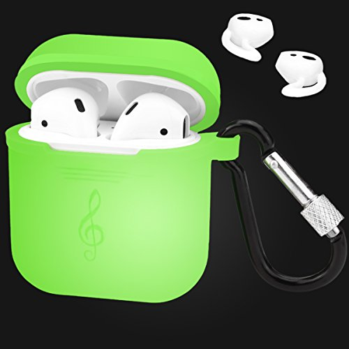 Custodia protettiva per airpods, con cinghia e moschettone, in silicone, accessorio per airpods apple nightglow green-b