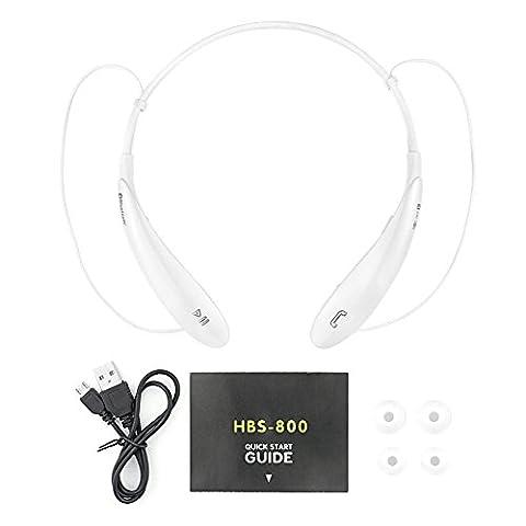 BUTEFO HBS800 CSR V4.0 Bluetooth Mini Sans fil Stéréo Des sports Casque pour iPhone iPad iPod, Android, Samsung Galaxy, Smart Phones Bluetooth Dispositifs (Blanc)
