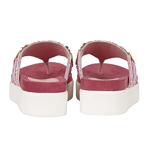 Lotus Matta Fuchsia-Multi Zehe-Post Sandalen Aus Veloursleder Rot & Rosa