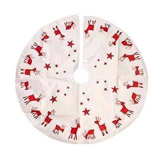 TOYANDONA 100cm / 39.3 Inches Pulgadas Patrón De Alces De Falda De Árbol De Navidad Decoración De Fiesta De Tela Redonda Suministro De Fiesta