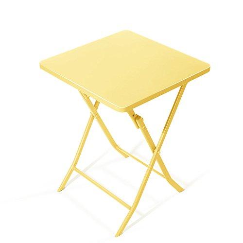 ZHIRONG Table carrée se pliante d'art de fer, table à manger européenne simple, table basse, table ronde de balcon jaune, bleu, vert, rose (Couleur : Le jaune, taille : Carré)