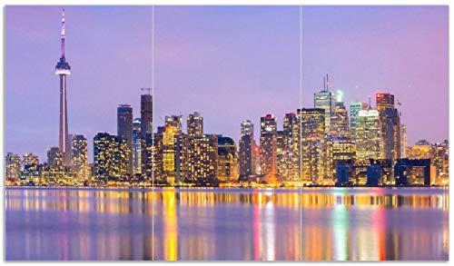 Wallario Herdabdeckplatte/Spritzschutz aus Glas, 3-teilig, 90x52cm, für Ceran- und Induktionsherde, Toronto Skyline - Kanada am Abend