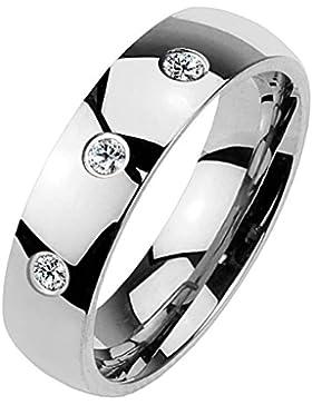 Paula & Fritz® Klassischer Dom Ring aus Chirugenstahl Edelstahl 316L silber, schwarz, rosévergoldet mit drei Zirkonia...