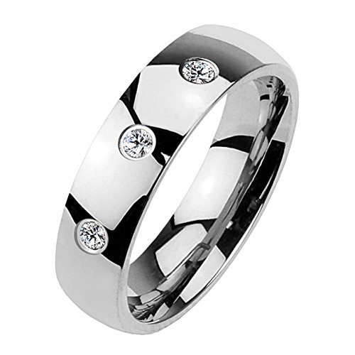 Paula & Fritz® Klassischer Dom Ring aus Chirugenstahl Edelstahl 316L Silber 6mm breit mit DREI Zirkonia 66 (21)