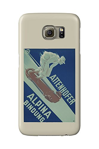 Attenhofer Alpina Bindung Vintage Poster (artist: Carl Moos) Switzerland c. 1935 (Galaxy S6 Cell Phone Case, Slim Barely There)