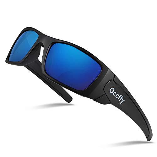 Occffy Polarisierte Sportbrille Sonnenbrille Fahrradbrille mit UV400 Schutz für Herren Autofahren Laufen Radfahren Angeln Golf TR077 (Schwarze Matte Rahmen mit Blaue Linse)