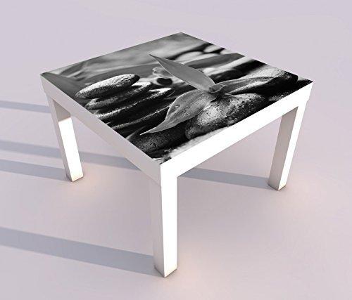 Design - Tisch mit UV Druck 55x55cm schwarz weiß Wellness Stein Yoga Bambus Massage Spieltisch Lack Tische Bild Bilder Kinderzimmer Möbel 18A891, Tisch 1:55x55cm - Steinen Wellness Massage
