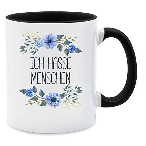 Tasse mit Spruch - Ich hasse Menschen Blumen - Unisize - Schwarz - Q9061 - Kaffee-Tasse inkl. Geschenk-Verpackung