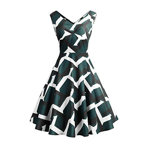 UFACE Kleid 50er Jahre Rockabilly Damen Vintage Polka Dots Blumendruck Bodycon Ärmellos Casual Abend Prom Swing Kleid Röcke Petticoa (Rock Solid Tattoo)