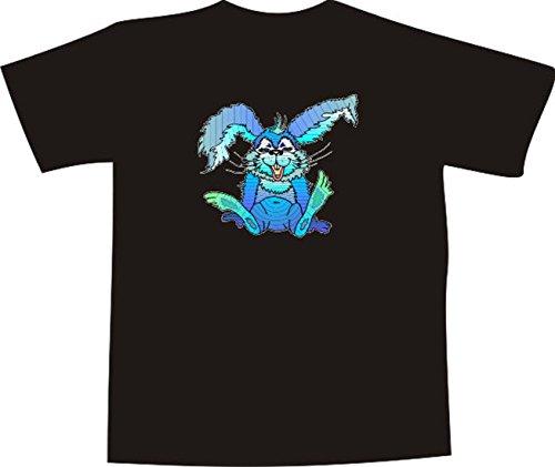 T-Shirt E854 Schönes T-Shirt mit farbigem Brustaufdruck - Logo / Grafik - Comic Design - verrückter kleiner Hase mit langen Ohren Weiß