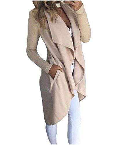ASSKDAN Damen Pullover Beige Langarm Asymmetrisch Strickjacken Cardigan Mantel Jacke (M, Beige)