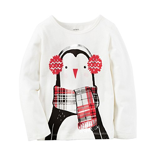 Carters Baby Clothing Outfit Girls Long-Sleeve Penguin Tee Ivory 3M Carters Fleece-outfit
