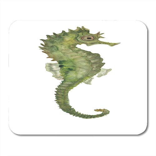 Mouse Pads Green Animal Blue Horse Watercolor Painting Seahorse Colorful Sea Aquarium Mouse Pad