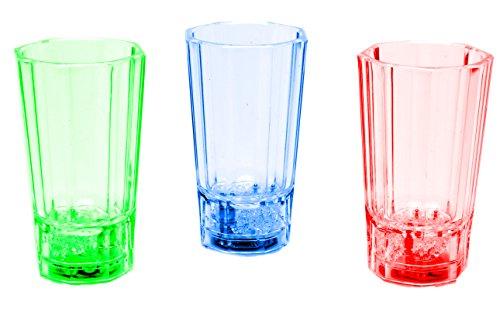 LED-Highlights Glas Becher Schnapsglas 3er Set Schnapsgläser beleuchtet 60 ml bunt LED rot blau grün Bar Partyglas Kunststoff Trinkglas mit Batterie (Kunststoff-wein-gläser Farbe Rot)