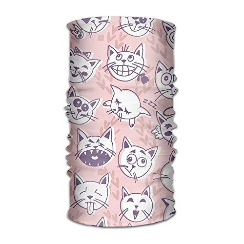 Qinckon Männer & Frauen Katzen Emotionale Gesichter 12-in-1 Bandana Headwear Scarf Wrap Neck Gamaschen