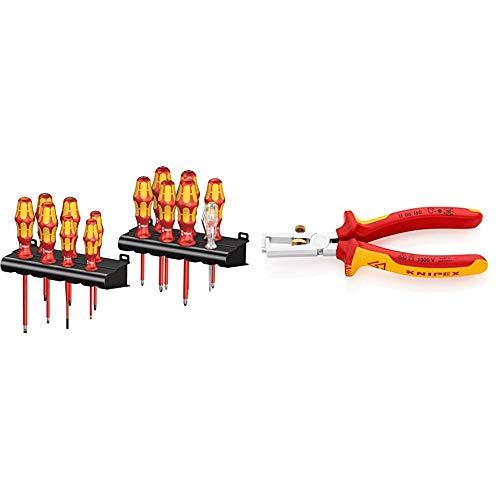 Wera Kraftform Big Pack 100 VDE, Schraubendreher Set 14-teilig, 05105631001 & KNIPEX 11 06 160 Abisolierzange, VDE-geprüft