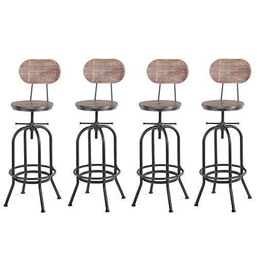 Poorhappy Stabiles tragendes Lager 4 PCS industrielle Barhocker mit Rückenlehne Barhocker Küche Esszimmerstuhl verstellbare Swivel Hocker Pinewood Top Metall Höhe