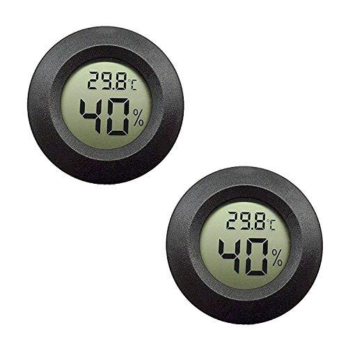EEEKit 2-Pack Hygrometer Thermometer Digitaler LCD-Monitor Luftfeuchtigkeitsmessger?t für den Innenbereich Luftbefeuchter Luftentfeuchter Gew?chshauskeller Babyroom, Schwarz Runde