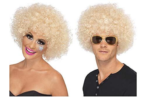 Fancy Dress World 42018 Perücke für Herren und Damen, 60er / 70er Jahre, blond, Afro-Kostüm, lustiges Accessoire