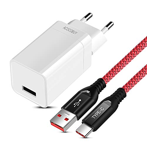 ACOCOBUY 5V 4A Dash Ladegerät für Oneplus 6T/6/5T/5/3T/3, Oneplus Ladegerät Adapter mit Dash USB Typ C Kabel 2M/6.6FT Typ-C Dash Ladekabel Schnelles Ladekabel für Oneplus, VOOC Lade für Oppo Find X. -