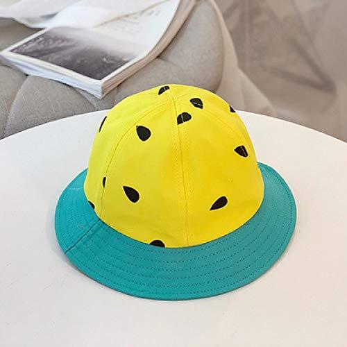 Frankreich Weiblich Kostüm - mlpnko Kinder Fischer Hut Jungen und Mädchen Baby Sonnenhut Sonnenhut Wassermelone Hut Visier niedlich Eltern-Kind-Hut gelbe Kinder 53CM