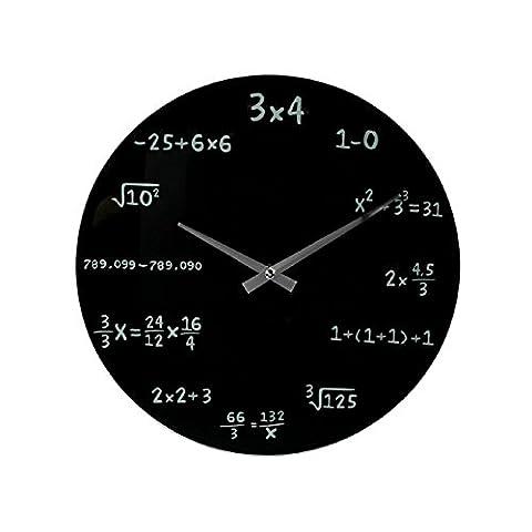 (817) Wanduhr Schwarz Mathematik aus Glas 35cm Uhr Mathematic Mathe