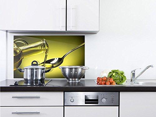GRAZDesign 200137_80x50_SP Spritzschutz Glas für Küche/Herd | Bild-Motiv Olivenöl | Küchenrückwand Küchenspiegel Glasrückwand (80x50cm) - Olivenöl-glas-glas