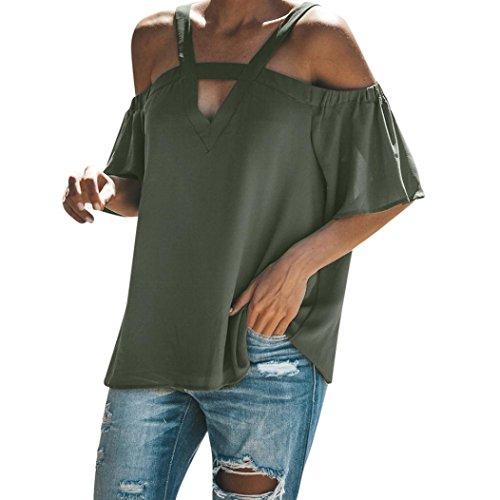 TWIFER Womens Cold Off Shoulder Tops T Shirt V Neck Short Sleeve Summer Top Blouse
