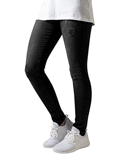 Urban Classics Damen Jeanshose Ladies Ripped Denim Pants, Schwarz (Black Washed 709), W29/L32 (Herstellergröße: 29) (Schwarz Distressed Sitz)