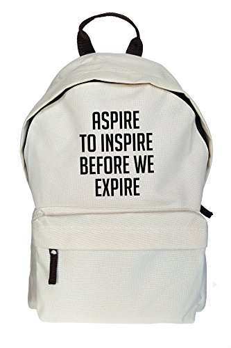 Aspire To Inspire Before We Expire Stampa Zaino casuale Beige Borsa Sacchetto
