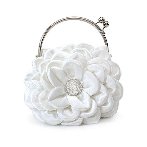 Arbeiten Sie Diamantblumendamenhandtasche Handy Kosmetiktasche White