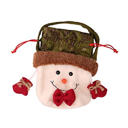Erduo Weihnachtsapfel-Tasche Weihnachtsweihnachtsmann-Schneemann-Elch-Bärn-Geschenk-Apfel-Tasche Weihnachtstaschen-Süßigkeit-Geschenktasche für Festival Weihnachten deko