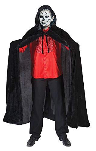 Kostüm Voldemort Kid's - Kinder Samt Umhang mit Kapuze - Schwarz Gr. 152 - Zum Halloween Karneval Zauberer Vampir Kostüm