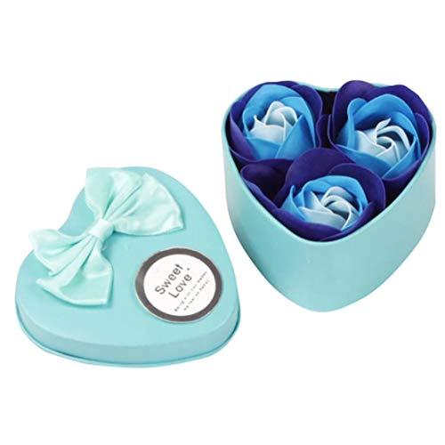 Floreale bagno profumato sapone del fiore della rosa petali pianta olio essenziale rose sapone set ospite di sapone a forma di petali confezione regalo per l'anniversario, matrimonio, san valentino,