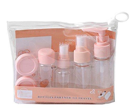7 Stück Travel Flasche Set - Travel Flaschen Toilettenartikel Flüssigcontainer Kunststoff Feinnebel Parfüm Spray Sprayer Flaschen Lotion Flaschen Cremedosen Cases für Beauty Make-up