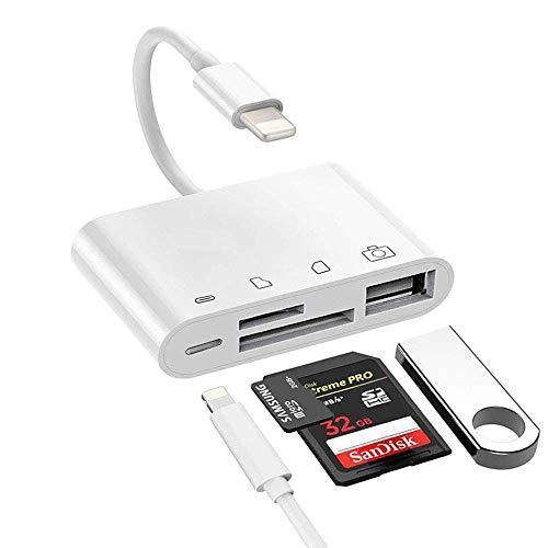 XMXWEI Lecteur de Carte SD/TF 4 en 1 USB Caméra Kit Connexion Carte Mémoire SD/TF,USB 3 Femelle OTG Charge Câble Phone XS/Max/XS/XR/8/8 Plus/7/7 Plus/6s/Pad Pro/Air/Mini