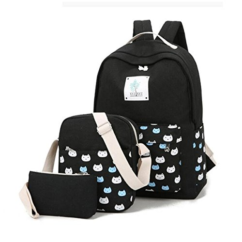 Gracosy 3 Teile Set Damen Schulrucksack Canvas Schultaschen Mädchen Rucksack + Umhängetasche/Schul Schulranzen + Mäppchen/Purse für Jugendliche Schwarz